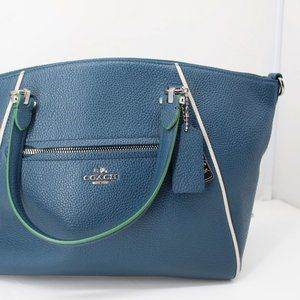Coach New Blue Satchel Pebbled Leather Genuine